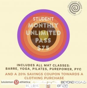 Student Special! Unlimited Mat classes for a Month, only $75! Plus 20% a clothing item! @ Steamboat Pilates Yoga & Fitness | Steamboat Springs | Colorado | United States
