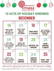 12 Acts of Holiday Kindness - remember what matters most @ steamboat pilates yoga & fitness | Steamboat Springs | Colorado | United States